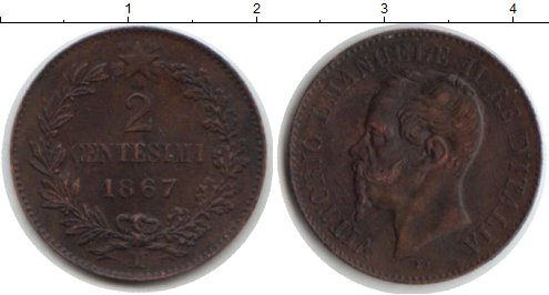 Картинка Монеты Италия 2 сентесимо Медь 1867