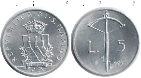 Картинка Монеты Сан-Марино 5 лир Алюминий 1979