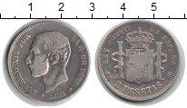 Изображение Монеты Испания 2 песеты 1884 Серебро XF Альфонсо XII