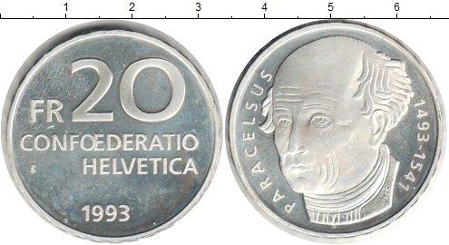 Картинка Монеты Швейцария 20 франков Серебро 1993