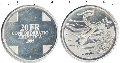Картинка Монеты Швейцария 20 франков Серебро 1995