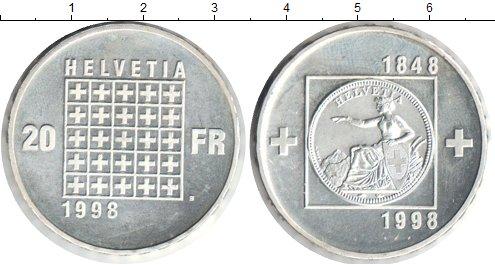 Картинка Монеты Швейцария 20 франков Серебро 1998