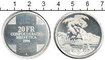 Изображение Монеты Швейцария 20 франков 1996 Серебро UNC- Королевский змей