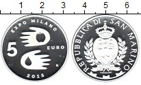 Изображение Монеты Сан-Марино 5 евро 2015 Серебро Proof- ЭКСПО Милан