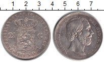 Изображение Монеты Нидерланды 2 1/2 гульдена 1874 Серебро XF Уильям III