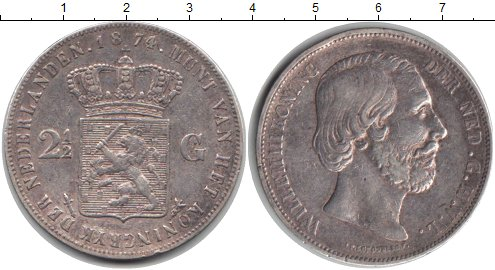 Картинка Монеты Нидерланды 2 1/2 гульдена Серебро 1874