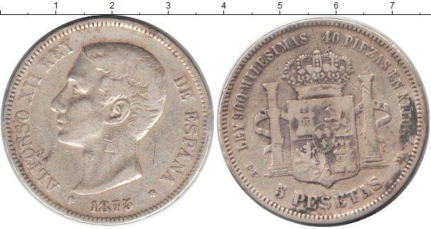 Картинка Монеты Испания 5 песет Серебро 1875