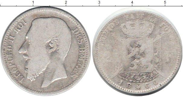 Картинка Монеты Бельгия 2 франка Серебро 1866