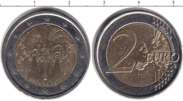 Картинка Монеты Испания 2 евро Биметалл 2010