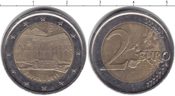 Картинка Монеты Испания 2 евро Биметалл 2011