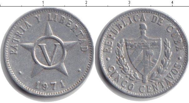 Картинка Дешевые монеты Куба 5 сентаво Алюминий 1971