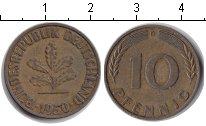 Изображение Дешевые монеты ФРГ 10 пфеннигов 1950 Медно-никель VF