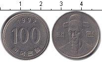 Изображение Барахолка Южная Корея 100 вон 1992 Медно-никель XF