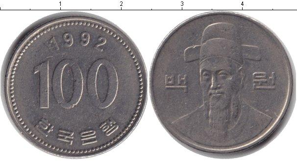 Картинка Барахолка Южная Корея 100 вон Медно-никель 1992