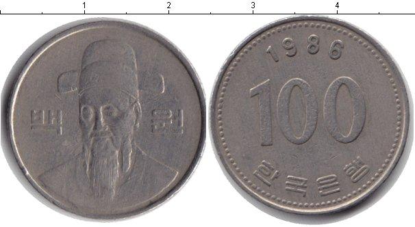 Картинка Барахолка Южная Корея 100 вон Медно-никель 1986