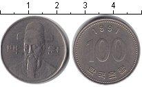 Изображение Барахолка Южная Корея 100 вон 1991 Медно-никель XF