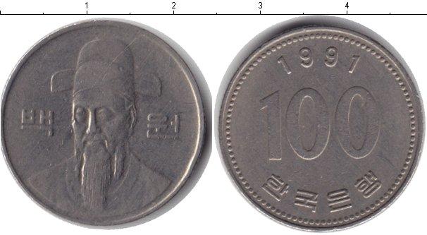 Картинка Барахолка Южная Корея 100 вон Медно-никель 1991