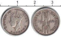 Изображение Мелочь Родезия 3 пенса 1940 Серебро XF
