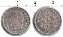 Изображение Мелочь Франция 20 сентим 1867 Серебро XF Наполеон III