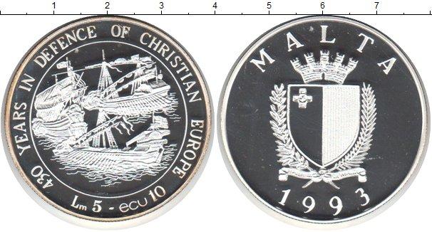 Картинка Монеты Мальта 5 лир Серебро 1993