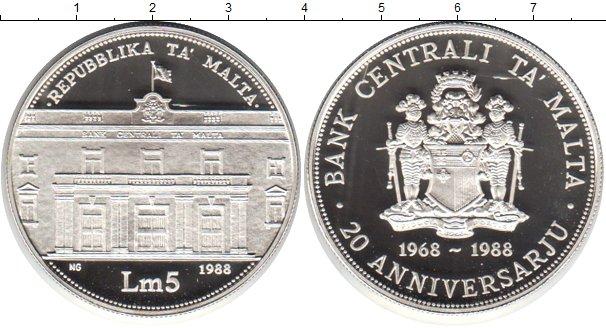 Картинка Монеты Мальта 5 лир Серебро 1988