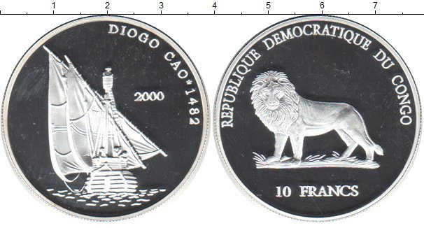Картинка Монеты Конго 10 франков Серебро 2000