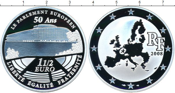 Картинка Монеты Франция 1 1/2 евро Серебро 2008