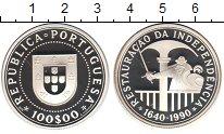 Изображение Монеты Португалия 100 эскудо 1990 Серебро Proof- 350-летие восстановл