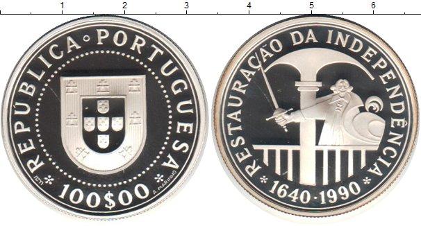 Картинка Монеты Португалия 100 эскудо Серебро 1990