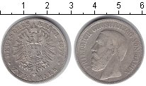 Изображение Монеты Германия Баден 2 марки 1877 Серебро VF