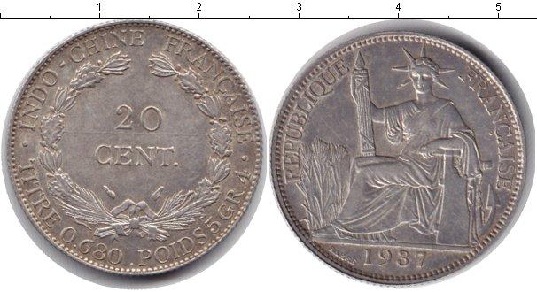 Картинка Монеты Индокитай 20 центов Серебро 1937