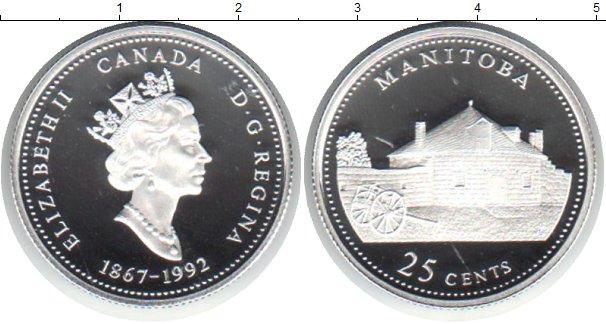 Картинка Монеты Канада 25 центов Серебро 1992