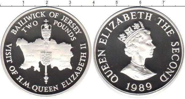 Картинка Монеты Остров Джерси 2 фунта Серебро 1989