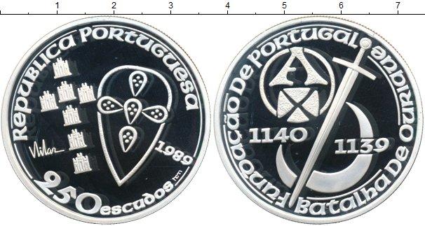Картинка Монеты Португалия 250 эскудо Серебро 1989
