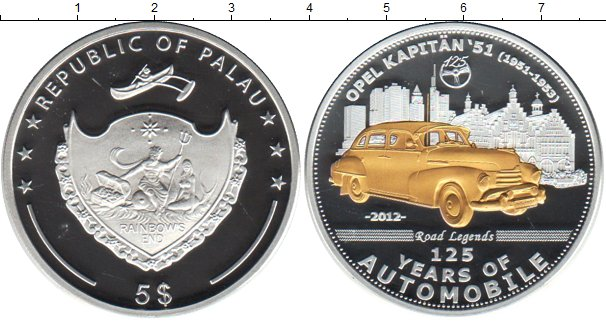 Картинка Монеты Палау 5 долларов Серебро 2012