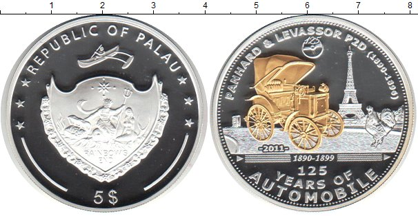 Картинка Монеты Палау 5 долларов Серебро 2011
