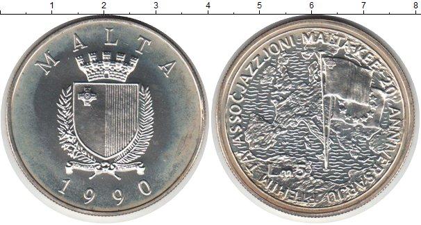 Картинка Монеты Мальта 5 лир Серебро 1990