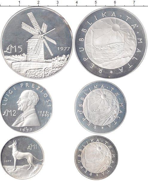 Картинка Наборы монет Мальта Мальта 1977 Серебро 1977