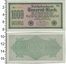 Изображение Банкноты Веймарская республика 1.000 марок 1922  XF