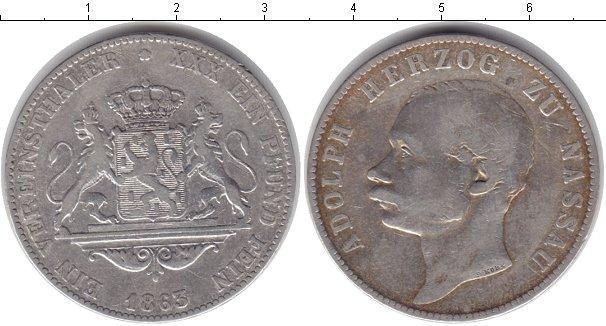 Картинка Монеты Нассау 1 талер Серебро 1863