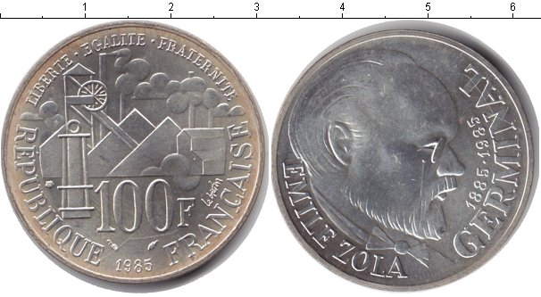 Картинка Монеты Франция 100 франков Серебро 1985