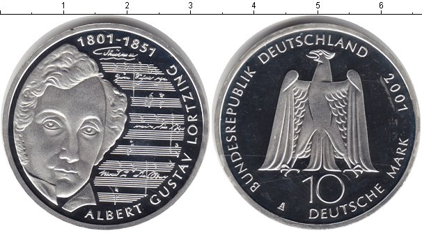 Картинка Монеты Германия 10 марок Серебро 2001