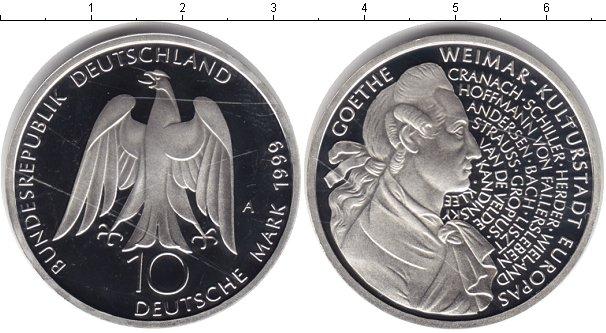 Картинка Монеты Германия 10 марок Серебро 1999