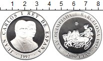 Изображение Монеты Испания 2.000 песет 1992 Серебро Proof- Хуан Карлос I. XXV О