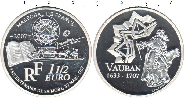 Картинка Монеты Франция 1 1/2 евро Серебро 2007