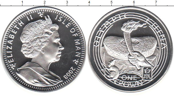 Картинка Монеты Остров Мэн 1 крона Серебро 2008
