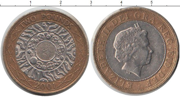 Картинка Монеты Великобритания 2 фунта Биметалл 2001