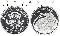 Изображение Монеты Того 1.000 франков 2007 Серебро Proof- Олимпиада 2008