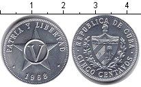 Изображение Дешевые монеты Куба 5 сентаво 1968 Алюминий UNC