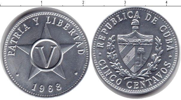 Картинка Дешевые монеты Куба 5 сентаво Алюминий 1968